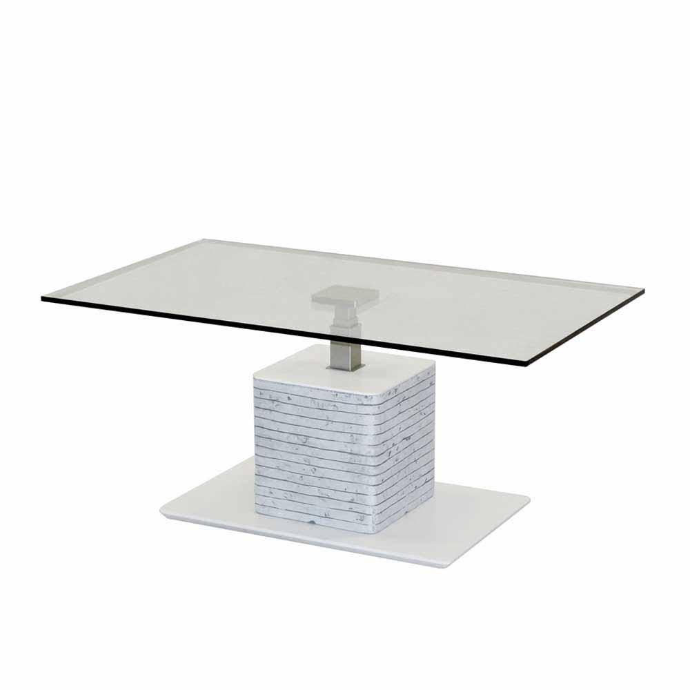 Design Couchtisch in Weiß Grau Beton Optik höhenverstellbar