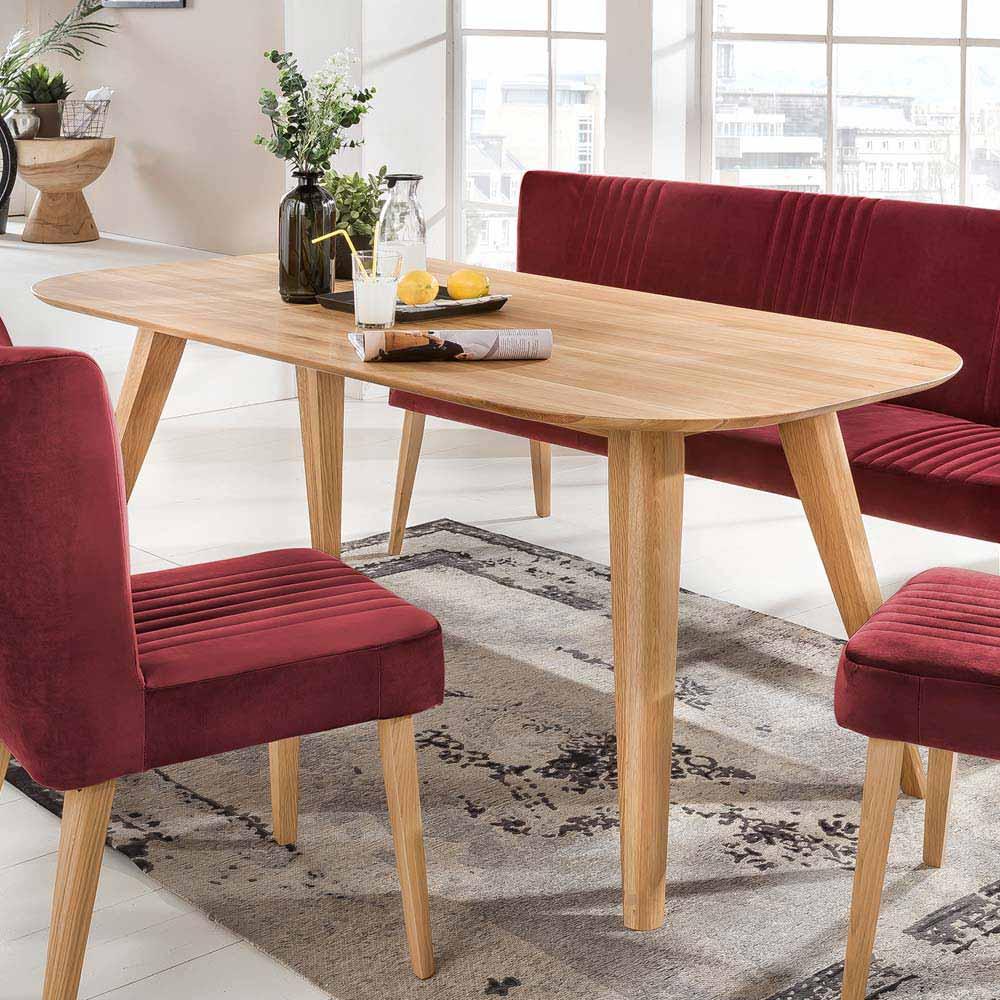 Massivholztisch aus Eiche natur geölt oval