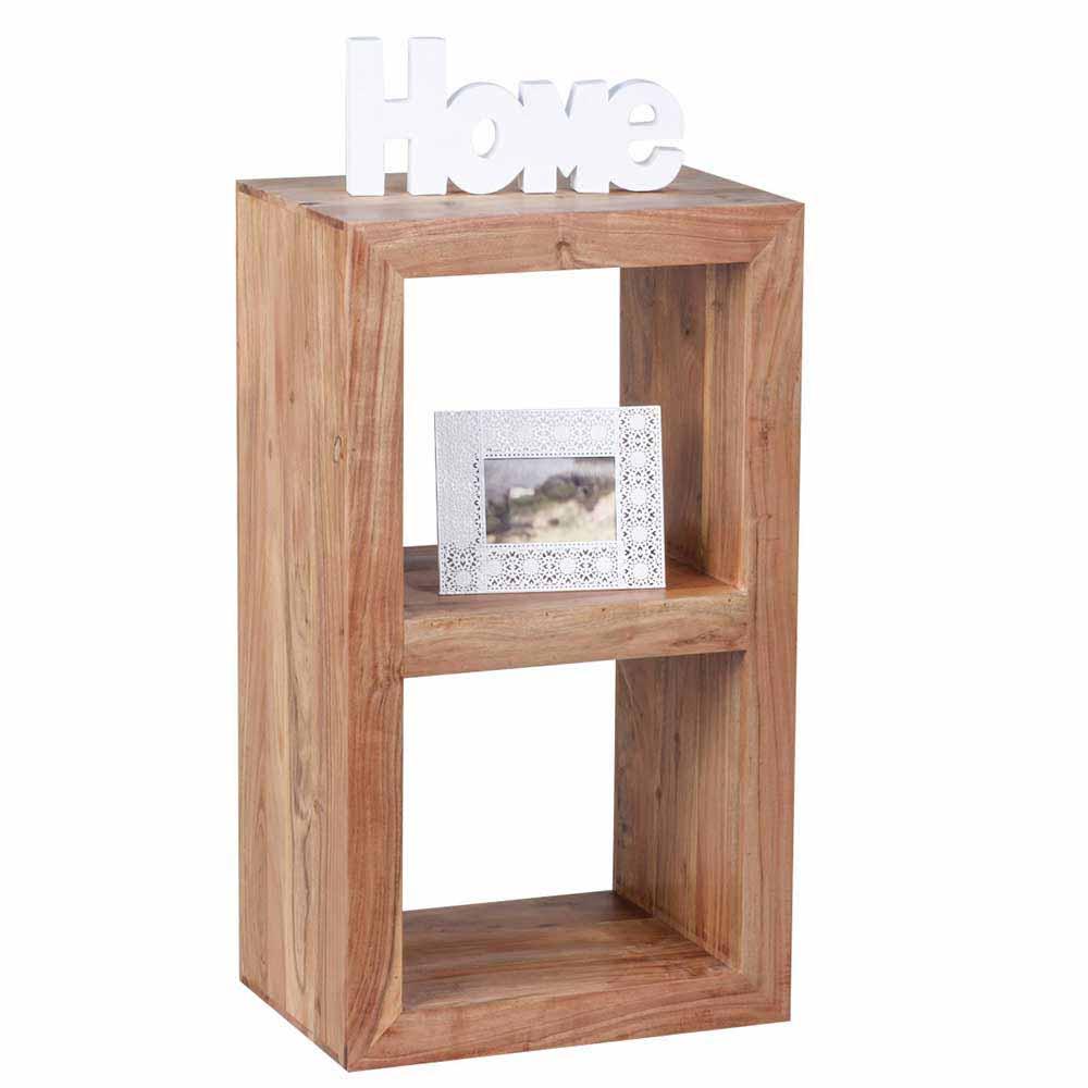 Bücherregal aus Akazie Massivholz 2 Fächer