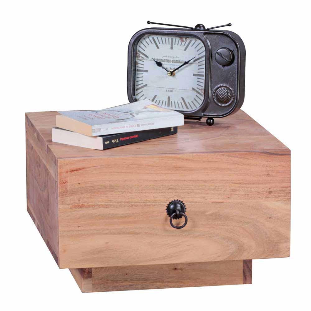Nachttisch aus Akazie Massivholz Schublade