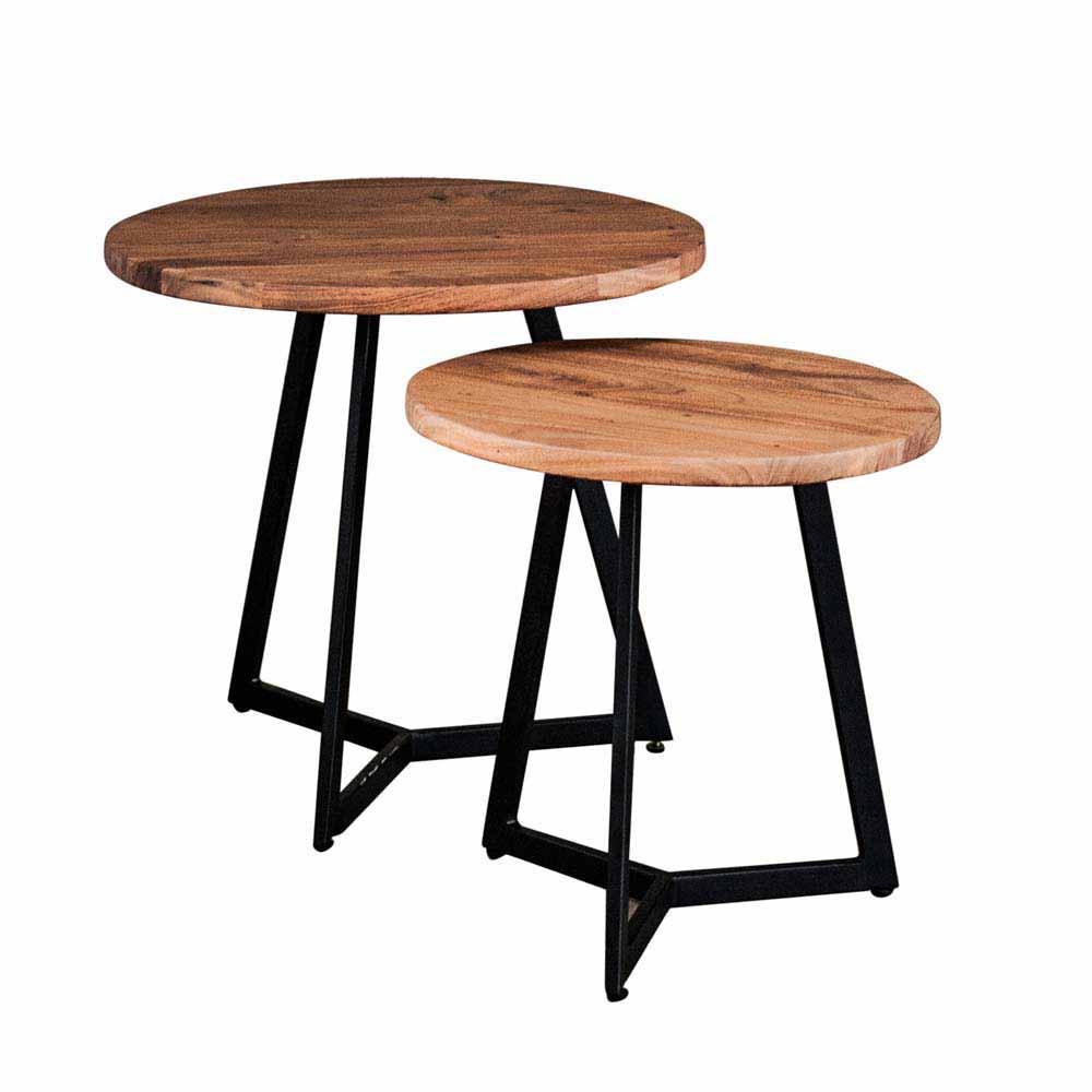 Ablagetisch Set aus Akazie Massivholz rund Metall (2-teilig) | Wohnzimmer > Tische > Satztische & Sets | Rodario