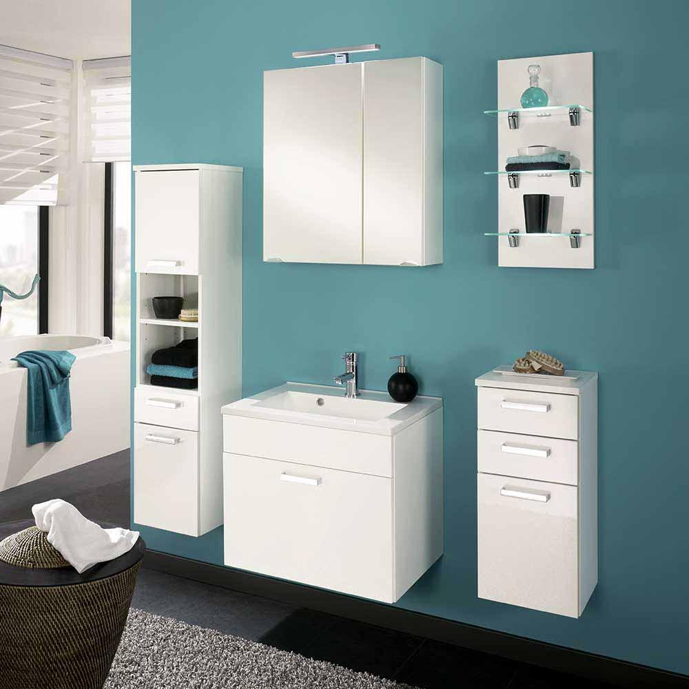 Badmöbel Set in Weiß Hochglanz Spiegelschrank (fünfteilig)