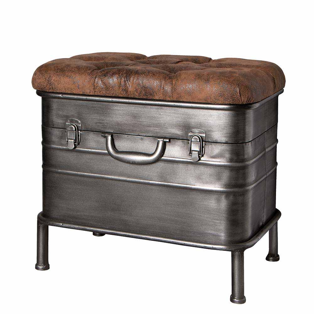 Sitztruhe aus Stahl Braun gepolstert | Küche und Esszimmer > Sitzbänke > Sitztruhen | Grau | Metall | Tollhaus