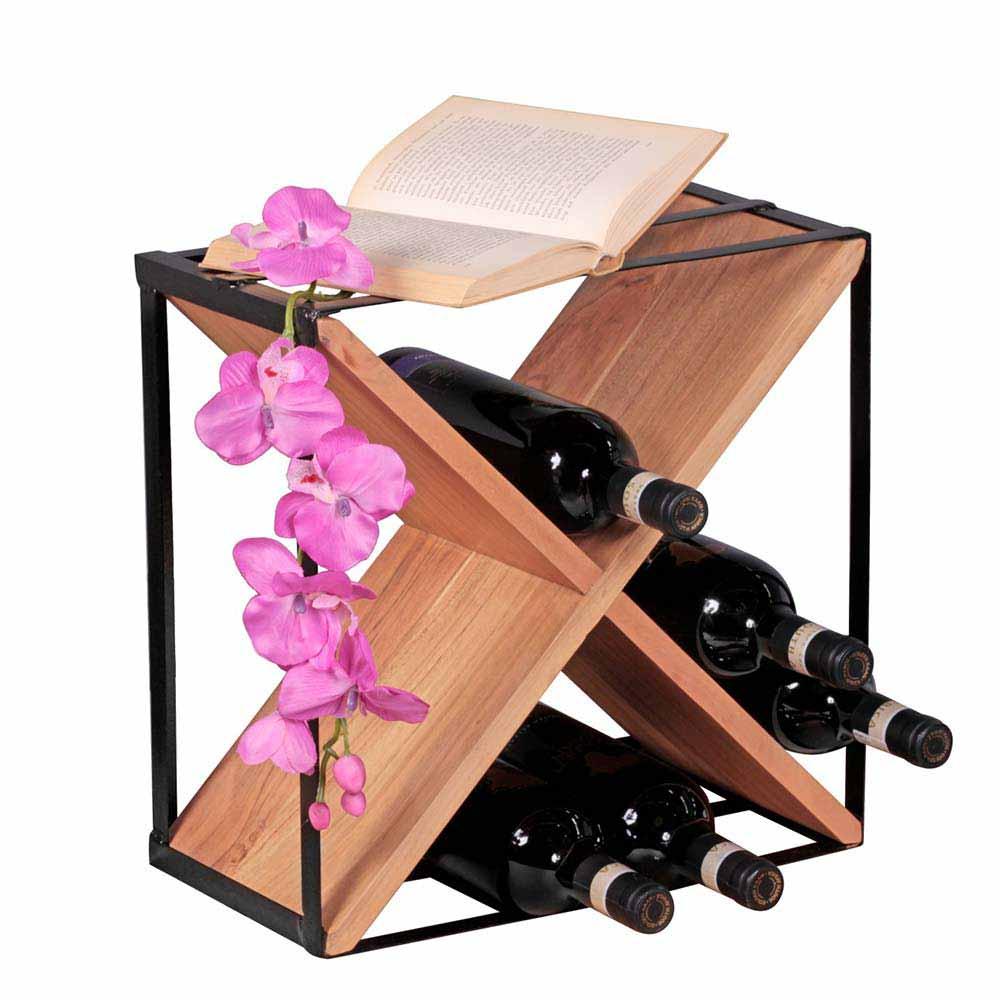 Design Flaschenregal aus Akazie Massivholz Metall | Küche und Esszimmer > Küchenregale > Weinregale | Möbel4Life
