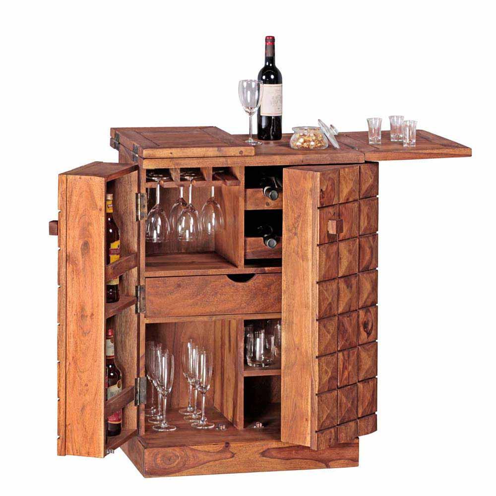 Massivholz Barschrank aus Sheesham lackiert rustikal | Küche und Esszimmer > Bar-Möbel > Barschränke | Möbel4Life