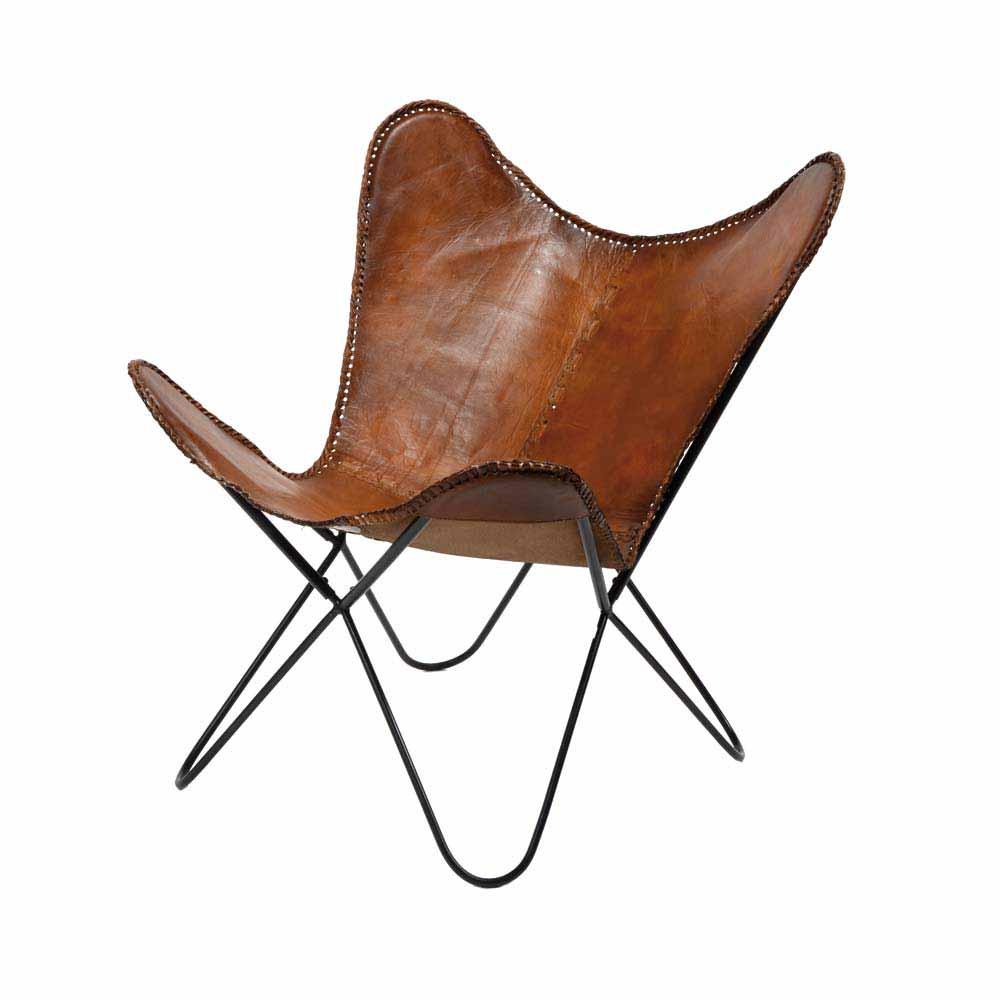 Schmetterling Sessel in Braun Leder Metall (2er Set)