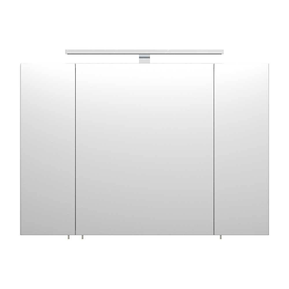 Bad Spiegelschrank in 3D Opitk Weiß | Bad > Spiegel fürs Bad | Weiß | Spiegelglas - Spanplatte - Holzwerkstoff | Möbel4Life