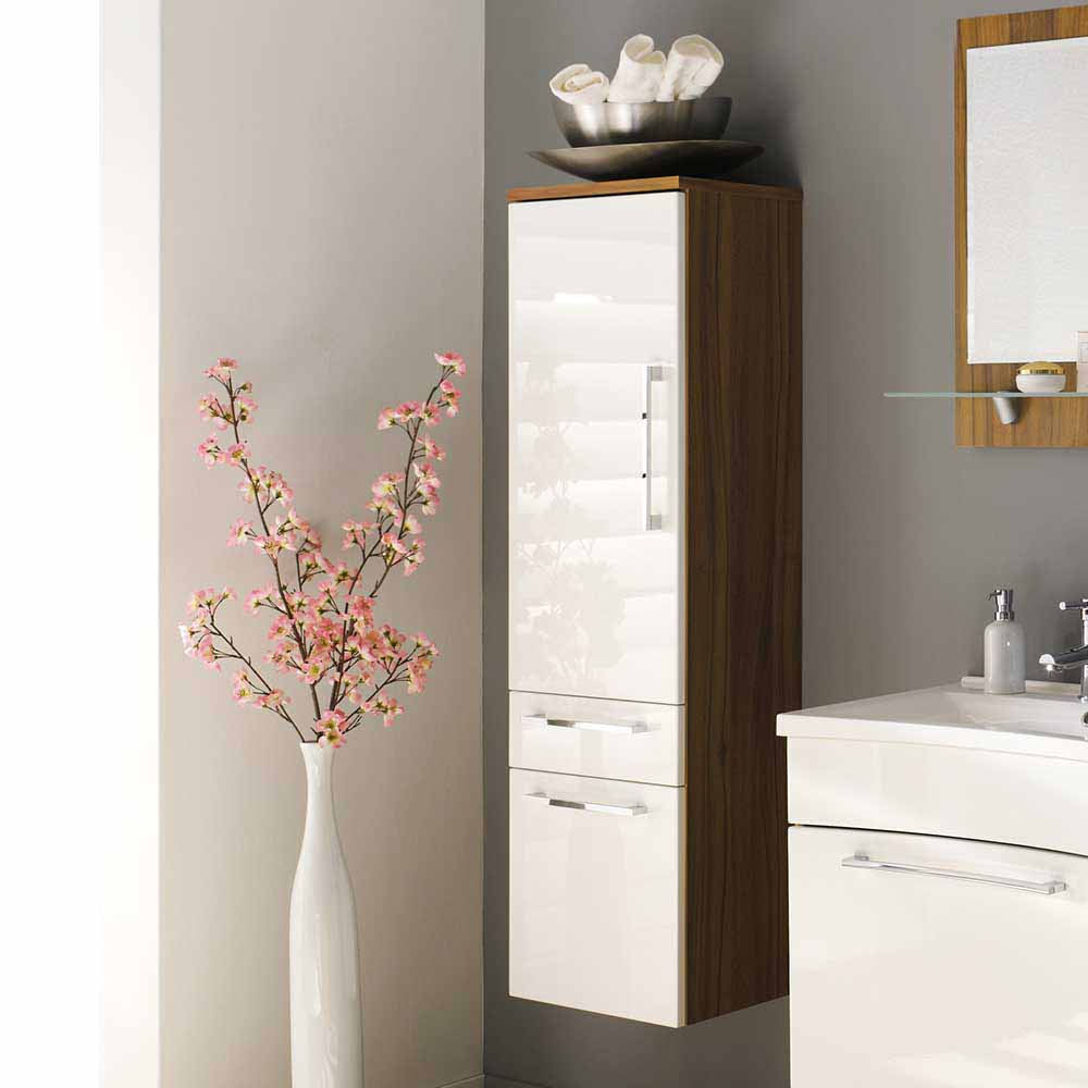 Möbel4Life Badezimmer Hochschrank in Weiß Hochglanz Walnuss hängend jetztbilligerkaufen
