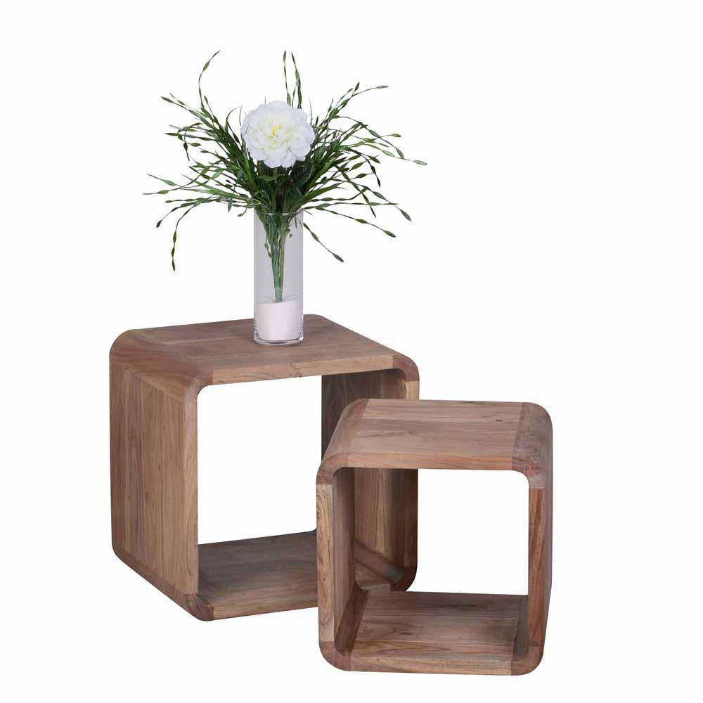 Zweisatztisch aus Akazie Massivholz abgerundet (2-teilig) | Wohnzimmer > Tische > Satztische & Sets | Möbel4Life