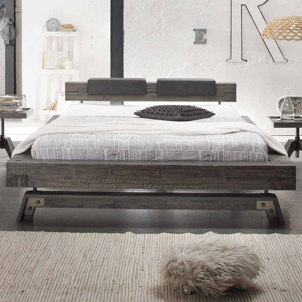 bett in grau akazie massiv klemmkissen shop. Black Bedroom Furniture Sets. Home Design Ideas
