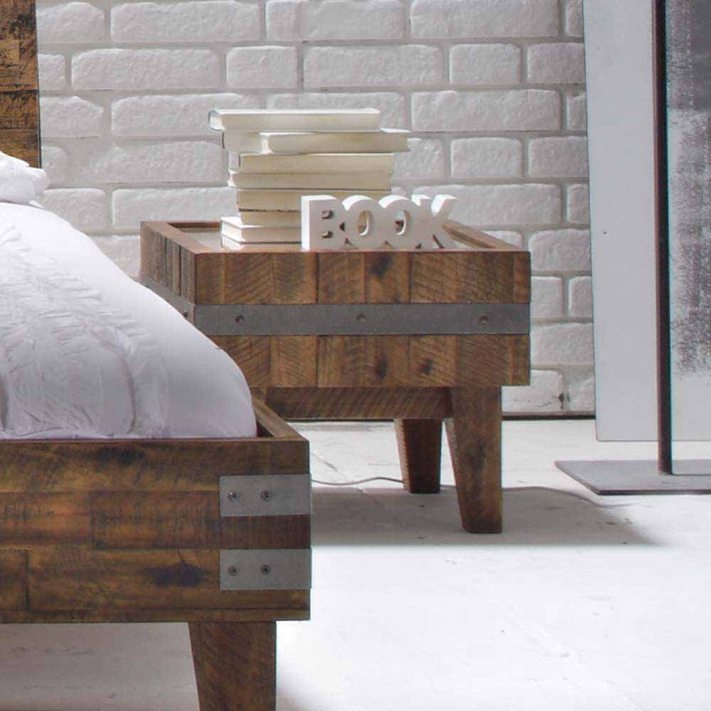 Nachtkonsole aus Akazie Massivholz Glasplatte | Schlafzimmer > Nachttische | Akazie - Massivholz - Gebeizt - Lackiert | TopDesign
