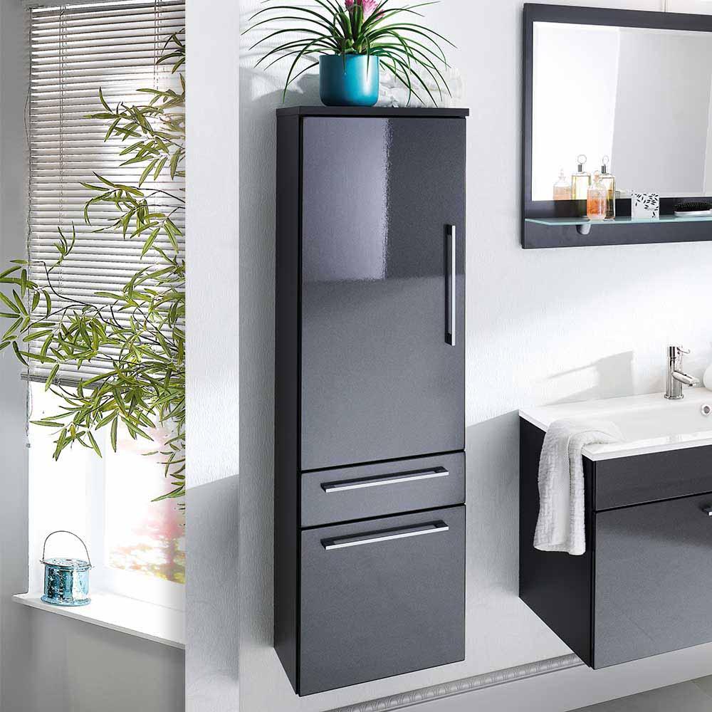 Badezimmer Hochschrank in Hochglanz Anthrazit 40 cm