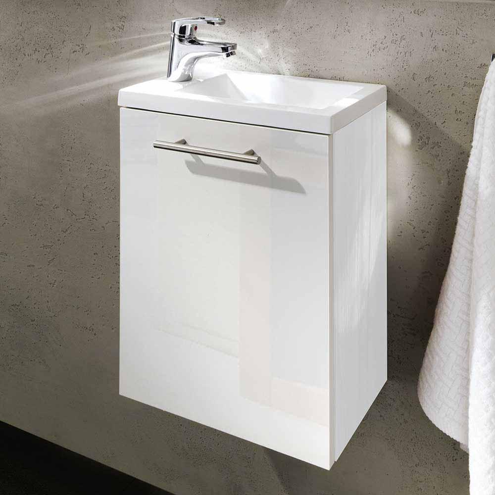 Bad Waschtisch in Hochglanz Weiß Gäste WC
