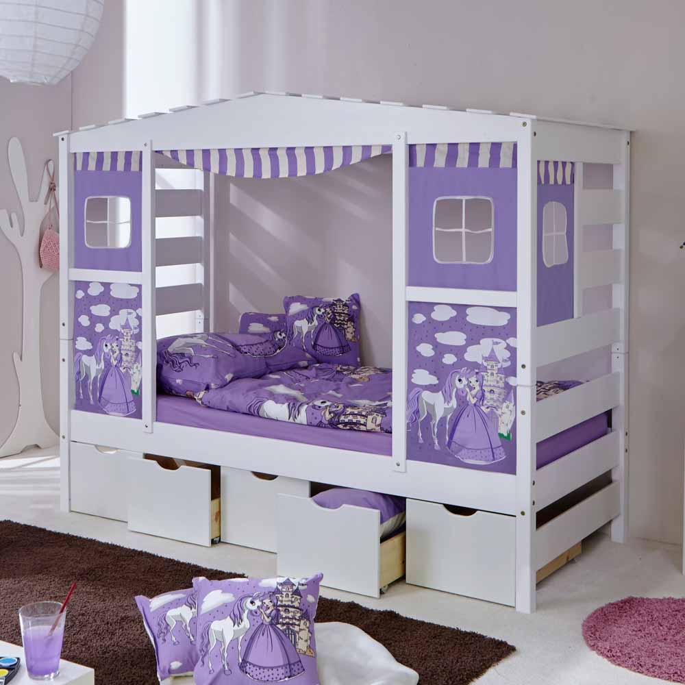 Schubladen Kinderbett in Prinzessin Design Weiß Lila | Kinderzimmer > Kinderbetten > Kinderbetten | Massivio