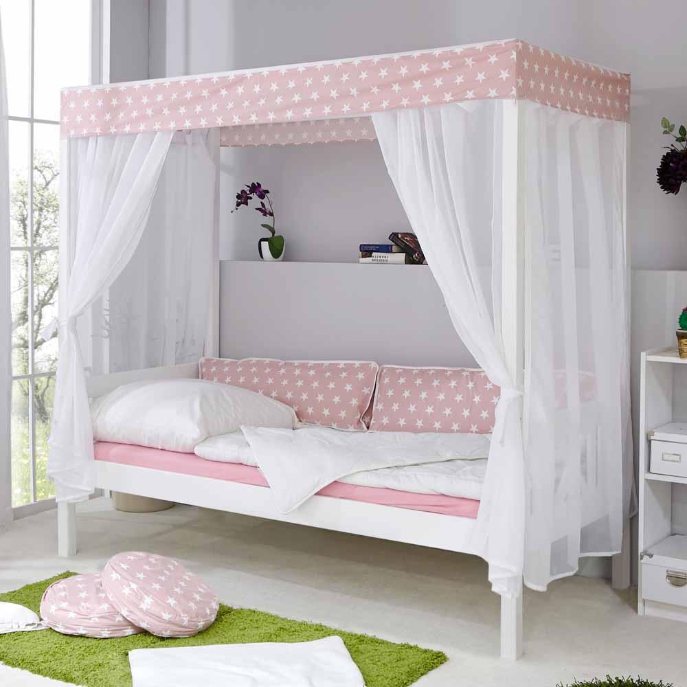 Himmelbett in Weiß Rosa Kiefer Massivholz   Schlafzimmer > Betten > Himmelbetten   Weiß   Massivholz   Massivio
