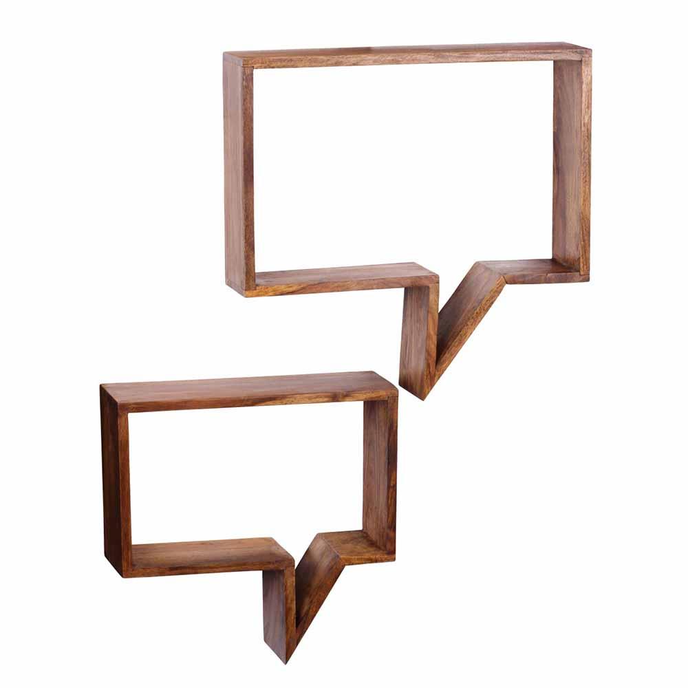 Design Wandregal aus Sheesham Massivholz modern (2 teilig)