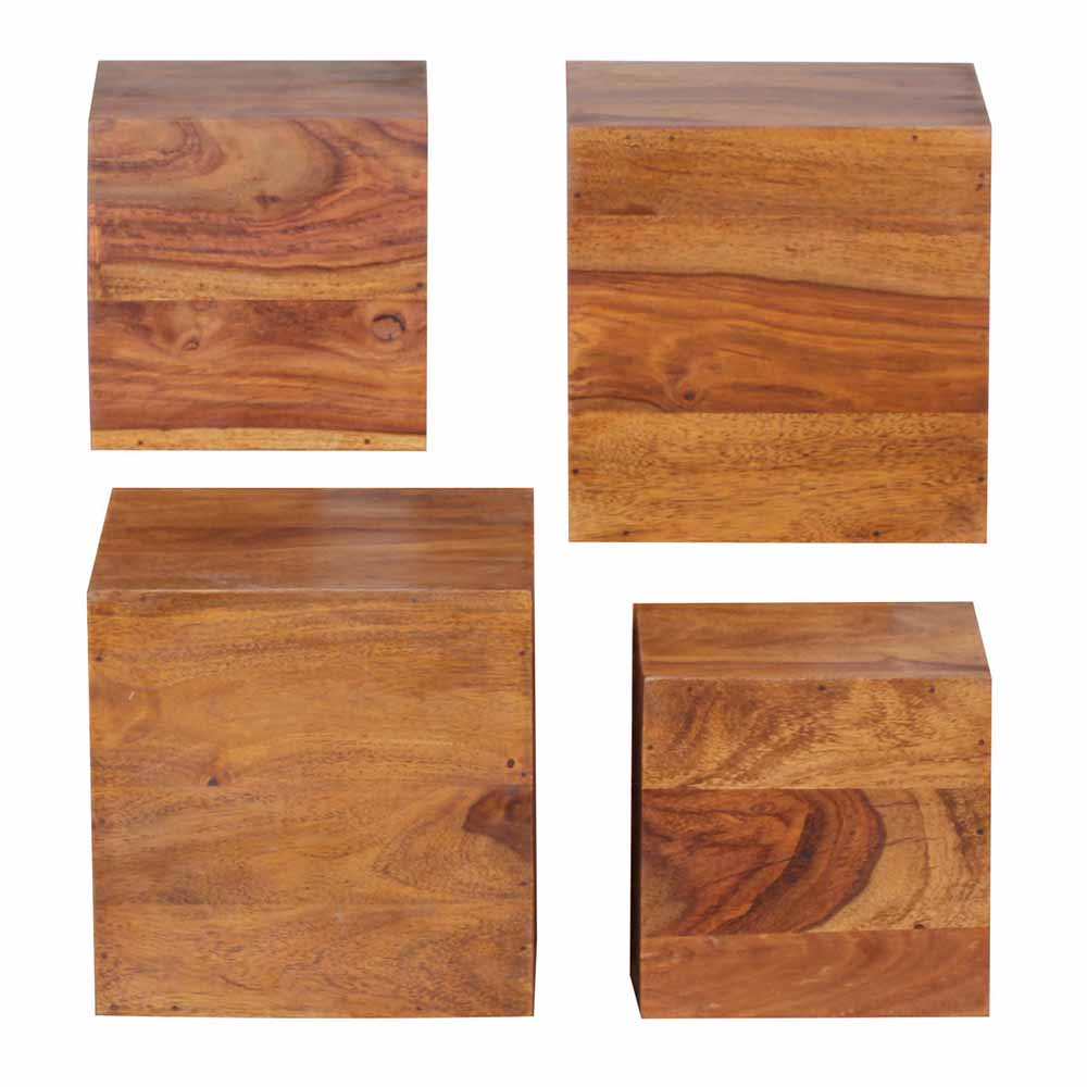 Regalwürfel aus Sheesham Massivholz 25 cm (4-teilig) | Wohnzimmer > Regale > Regalwürfel | Holz | Massivholz | Möbel4Life