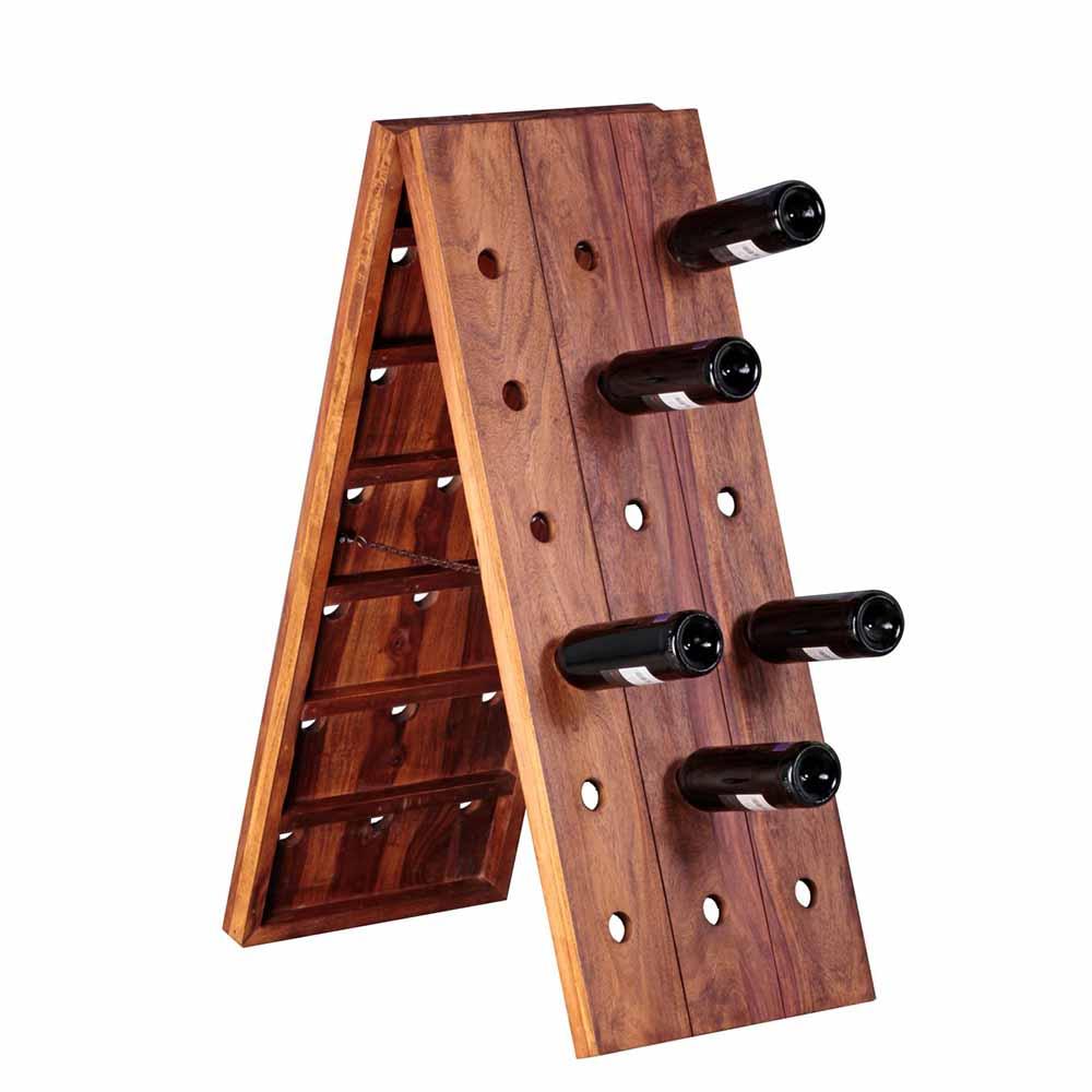 Flaschenregal aus Sheesham Massivholz klappbar | Küche und Esszimmer > Küchenregale > Weinregale | Möbel4Life