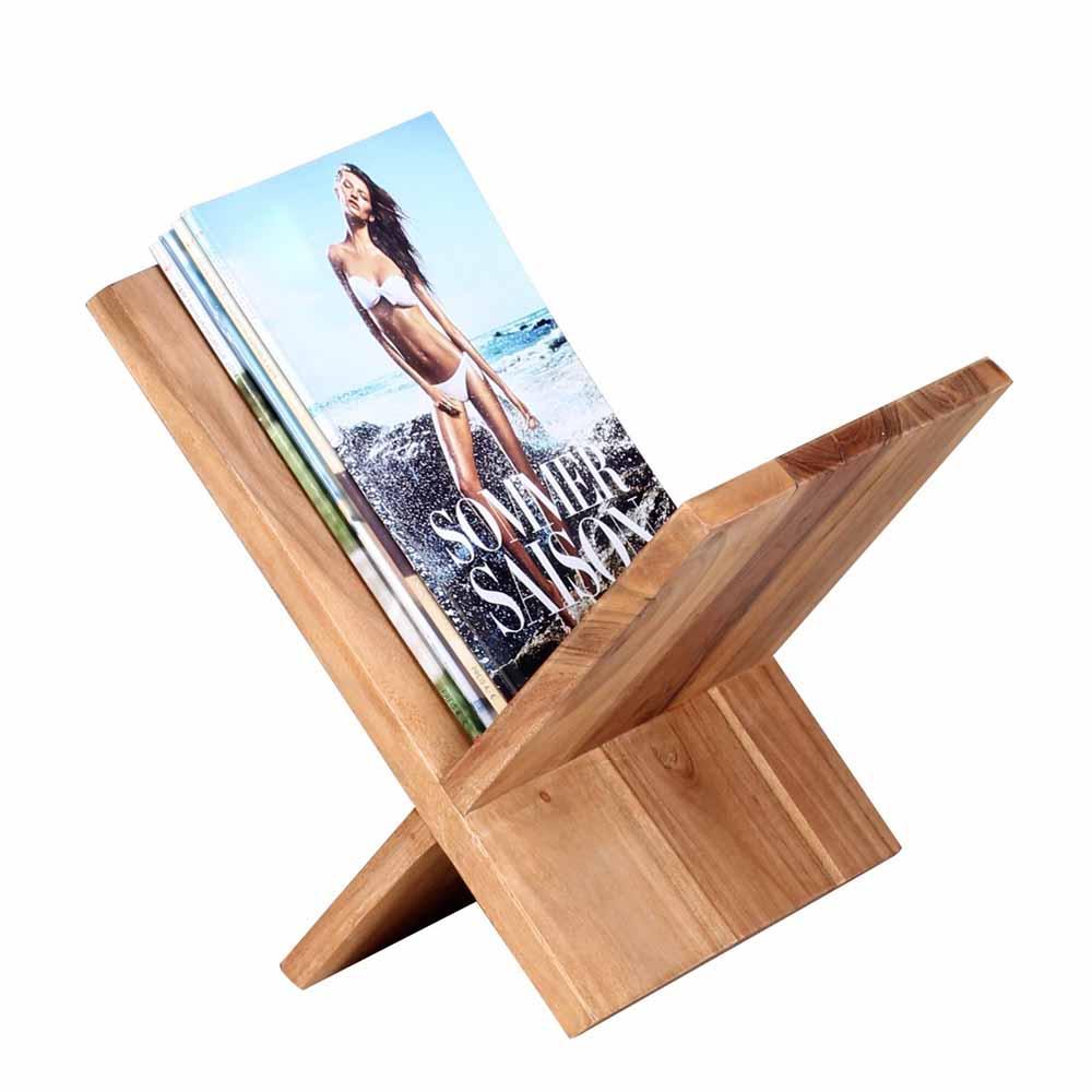 Zeitschriftenständer aus Akazie Massivholz 30 cm | Dekoration > Aufbewahrung und Ordnung > Zeitungsständer | Möbel4Life