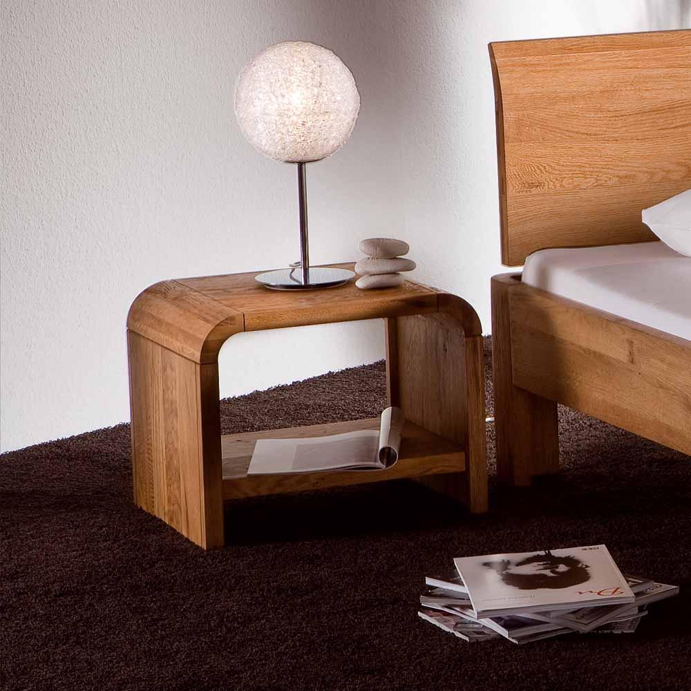 Nachtkonsole aus Wildeiche Massivholz abgerundet | Schlafzimmer > Nachttische | Eiche - Massivholz - Geölt | TopDesign