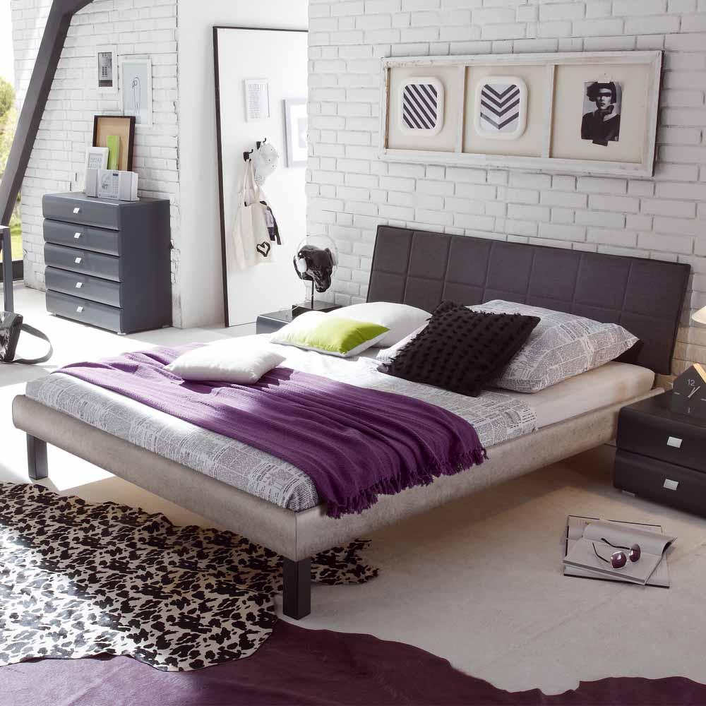 Jugendbett mit Polsterkopfteil Beton Grau | Kinderzimmer > Jugendzimmer > Jugendbetten | TopDesign