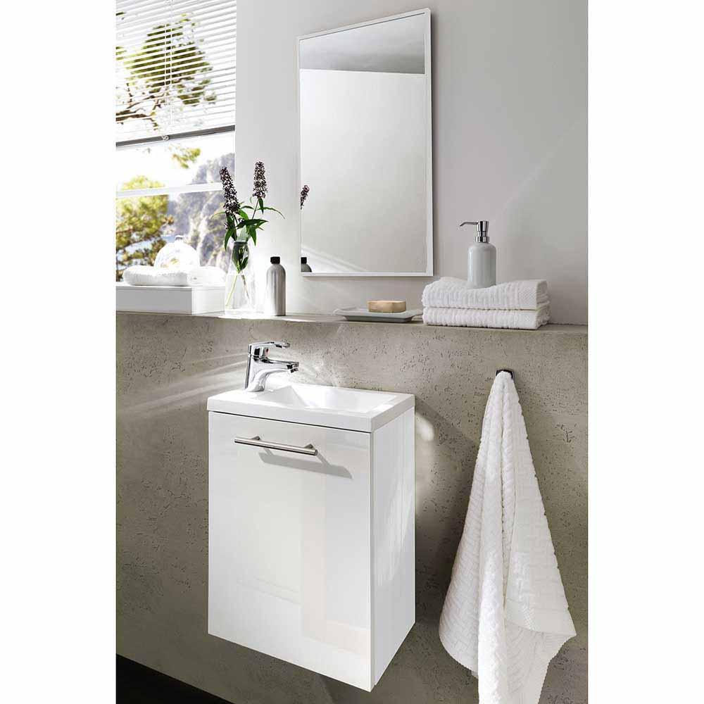 Bad Kombination in Hochglanz Weiß für kleines Bad (zweiteilig)
