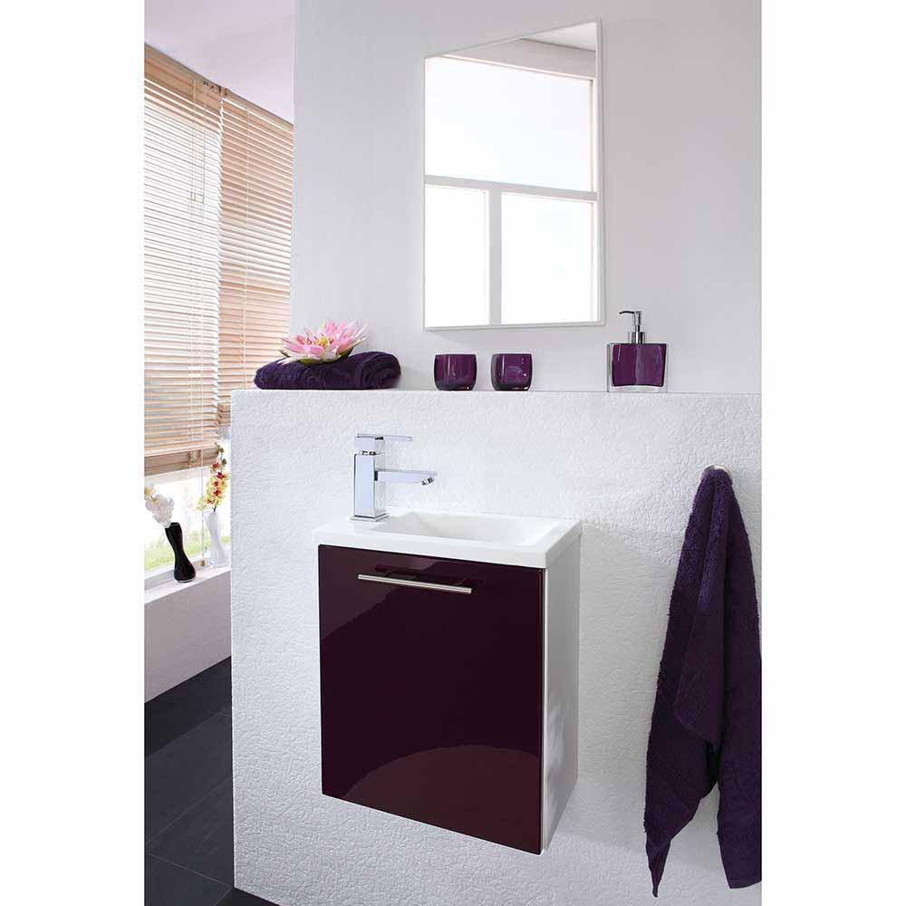 Badmöbel Set in Violett Hochglanz Weiß modern (zweiteilig)