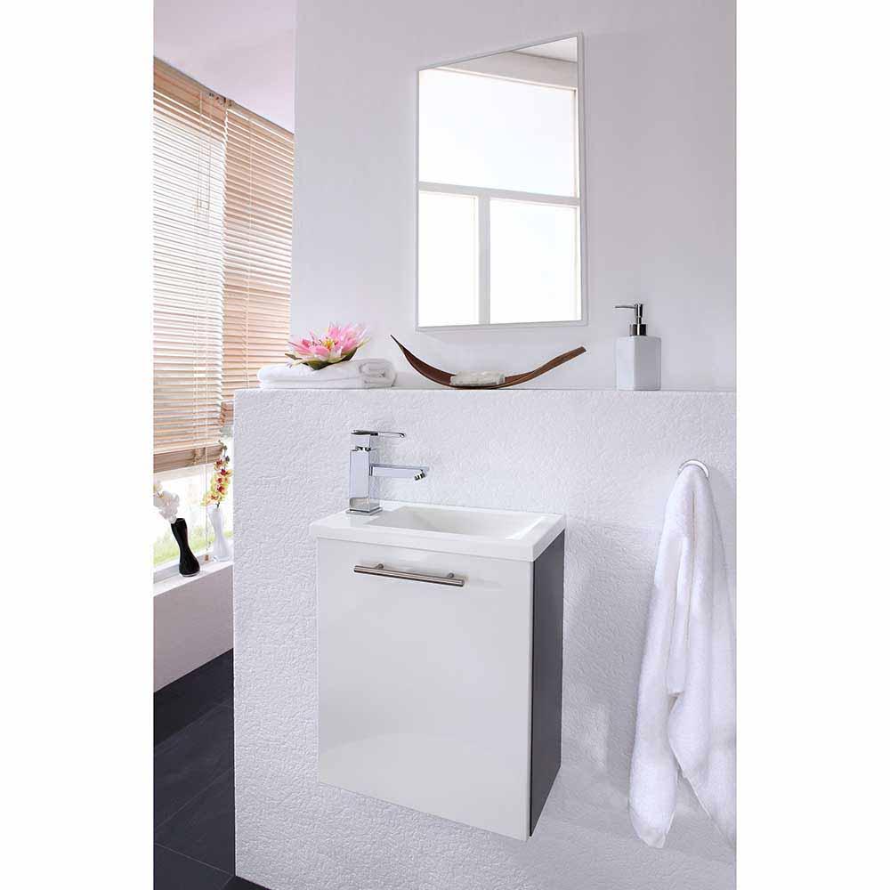 Badezimmer Kombination in Weiß Hochglanz Anthra...
