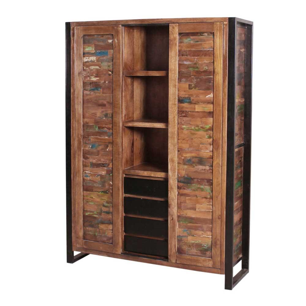 Dielenschrank in Bunt Recyclingholz Eisen | Flur & Diele > Mehrzweckschränke | Holz | Massivholz | Möbel Exclusive