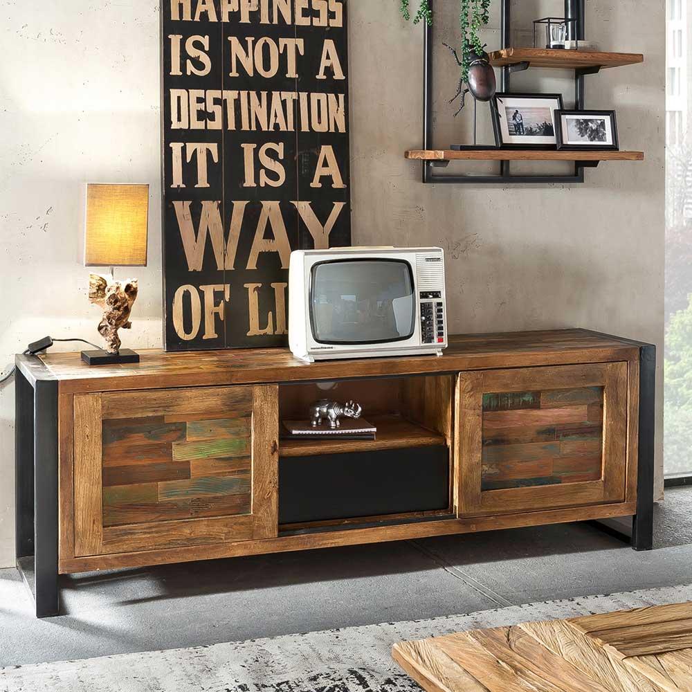 Design TV Lowboard in Bunt Recyclingholz Eisen