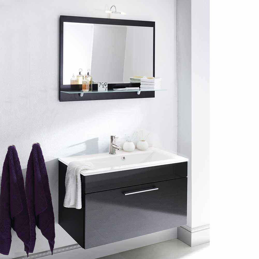 Bad Kombination mit Spiegel Anthrazit Hochglanz (zweiteilig)