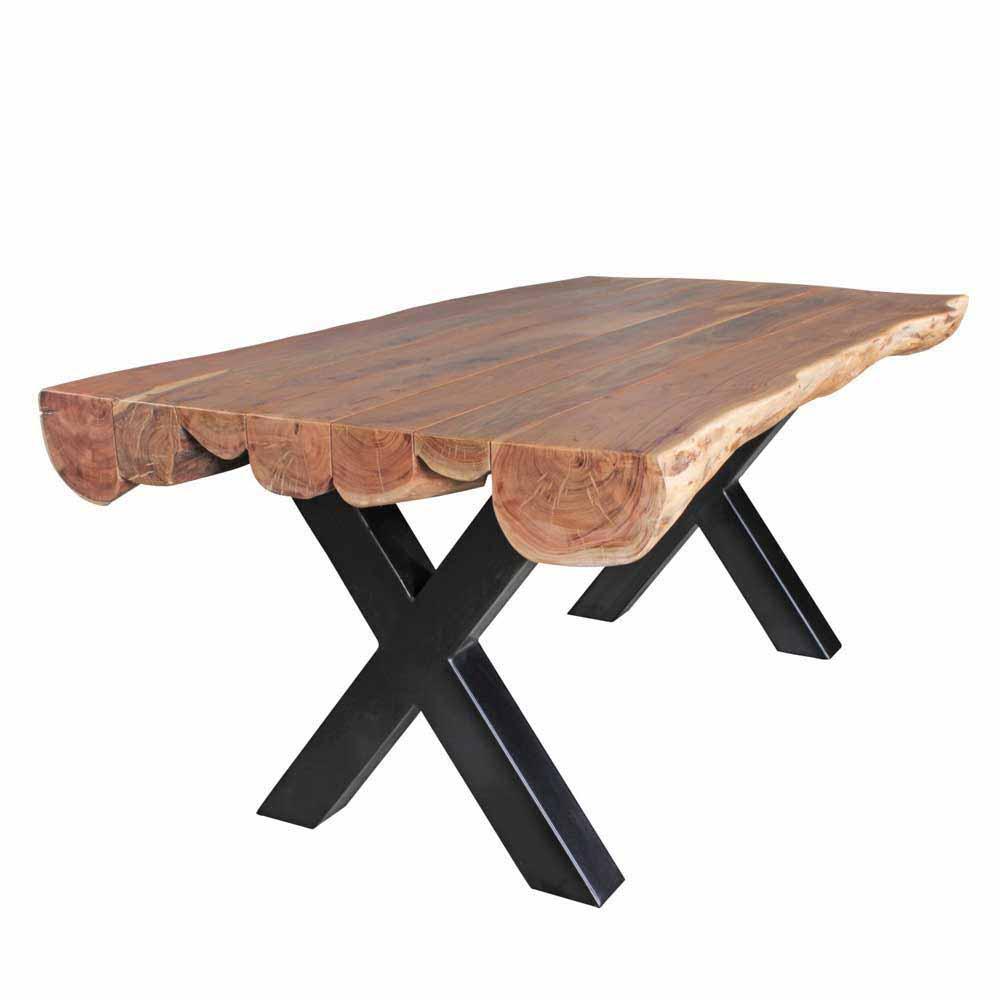 Baumkanten Esstisch aus Akazie Massivholz X-Fußgestell Metall Schwarz