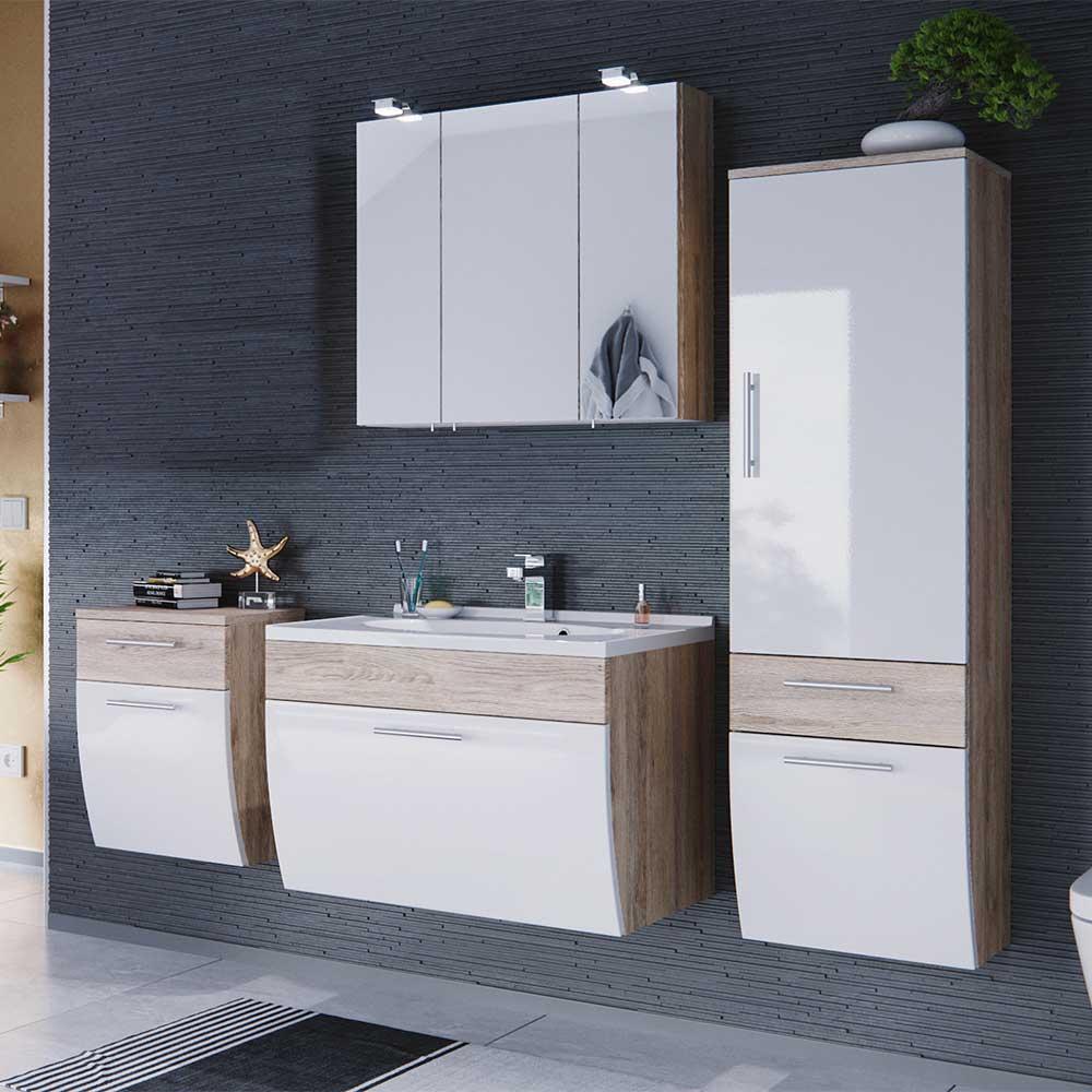 Wunderbar Badezimmer Schränke Sammlung Von Komplettset Mit Spiegelschrank Und Waschtisch Weiß Hochglanz