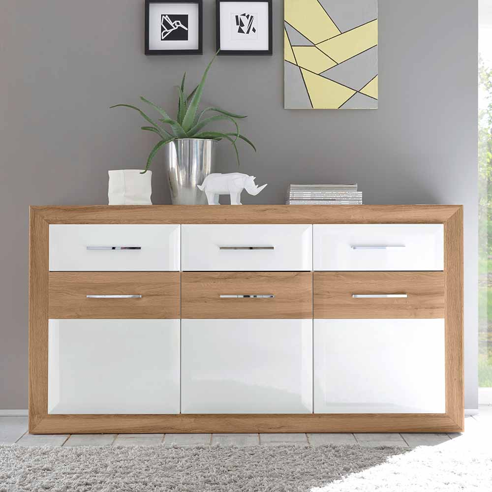 wohnzimmer sideboard in wei hochglanz eiche 180 cm preiswert bestellen. Black Bedroom Furniture Sets. Home Design Ideas