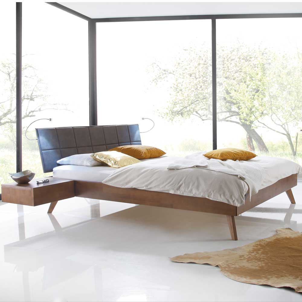 Jugendbett aus Buche Massivholz Walnussfarben Polsterkopfteil | Kinderzimmer > Jugendzimmer | Braun | Massivholz | TopDesign