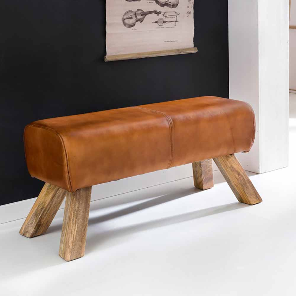 Möbel4Life Design Sitzbank in Braun Leder Massivholzbeine - broschei