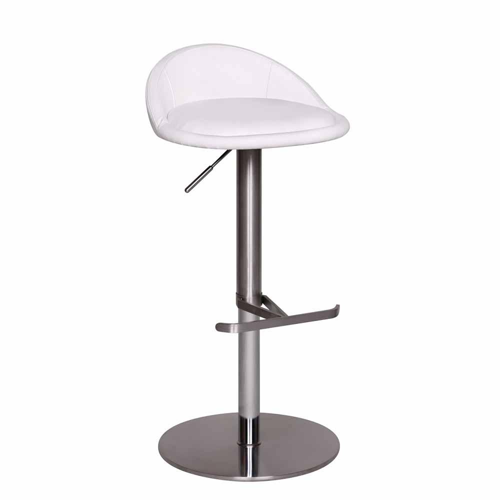 Küchenhocker in Weiß Kunstleder höhenverstellbar | Küche und Esszimmer > Stühle und Hocker > Küchenhocker | Möbel4Life