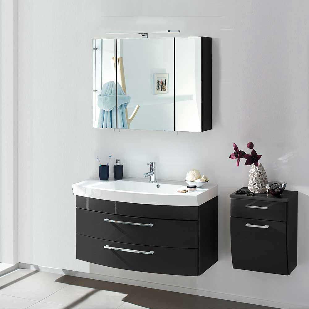 Möbel4Life Bad Kombination in Hochglanz Anthrazit 3D Spiegelschrank (3-teilig) - broschei
