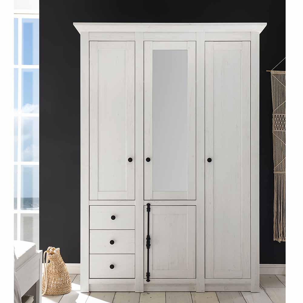 Brandolf Schlafzimmer Kleiderschrank im Landhausstil Weiß Spiegel - broschei