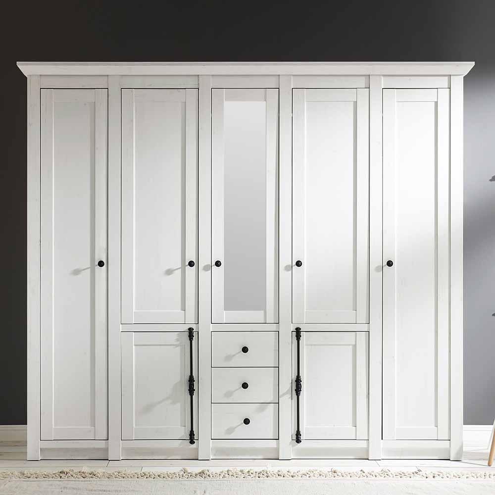 Schlafzimmer Kleiderschrank mit Spiegel Weiß Pinie