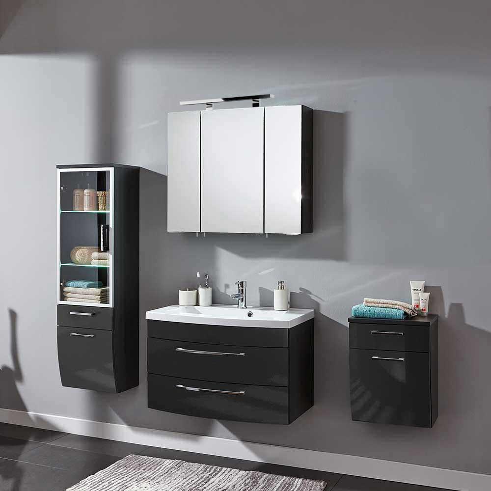 Möbel4Life Badezimmer Komplettset in Anthrazit Hochglanz hängend (4-teilig) jetztbilligerkaufen