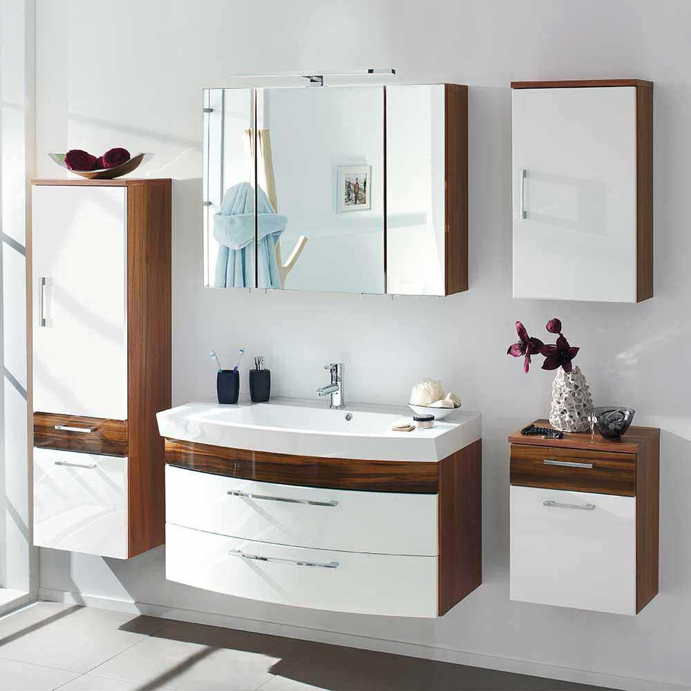 Design Badmöbel in Weiß Hochglanz Walnuss hängend (fünfteilig)