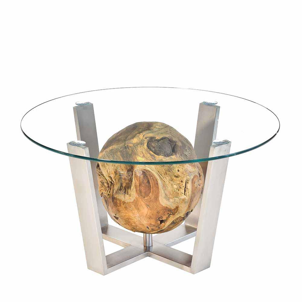 Runder Couchtisch aus Glas Teakholz Kugel