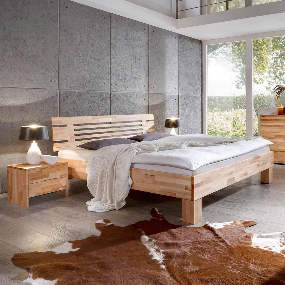Bett aus Kernbuche massiv geölt