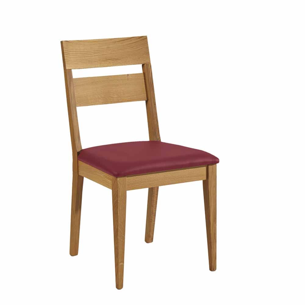 Holzstuhl aus Wildeiche Massivholz Dunkelrot Kunstleder | Küche und Esszimmer > Stühle und Hocker > Holzstühle | Franco Möbel