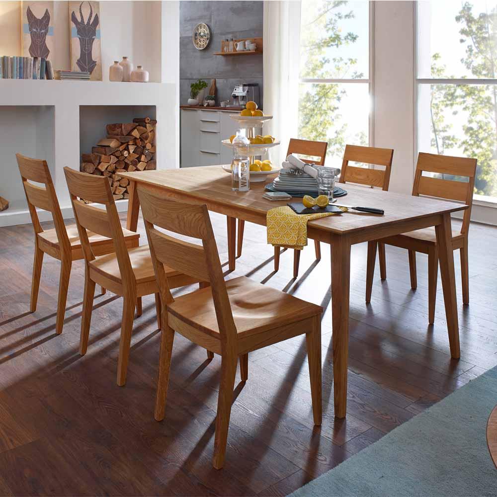 Massivholz Essgruppe aus Wildeiche geölt Tisch 180 cm (siebenteilig)