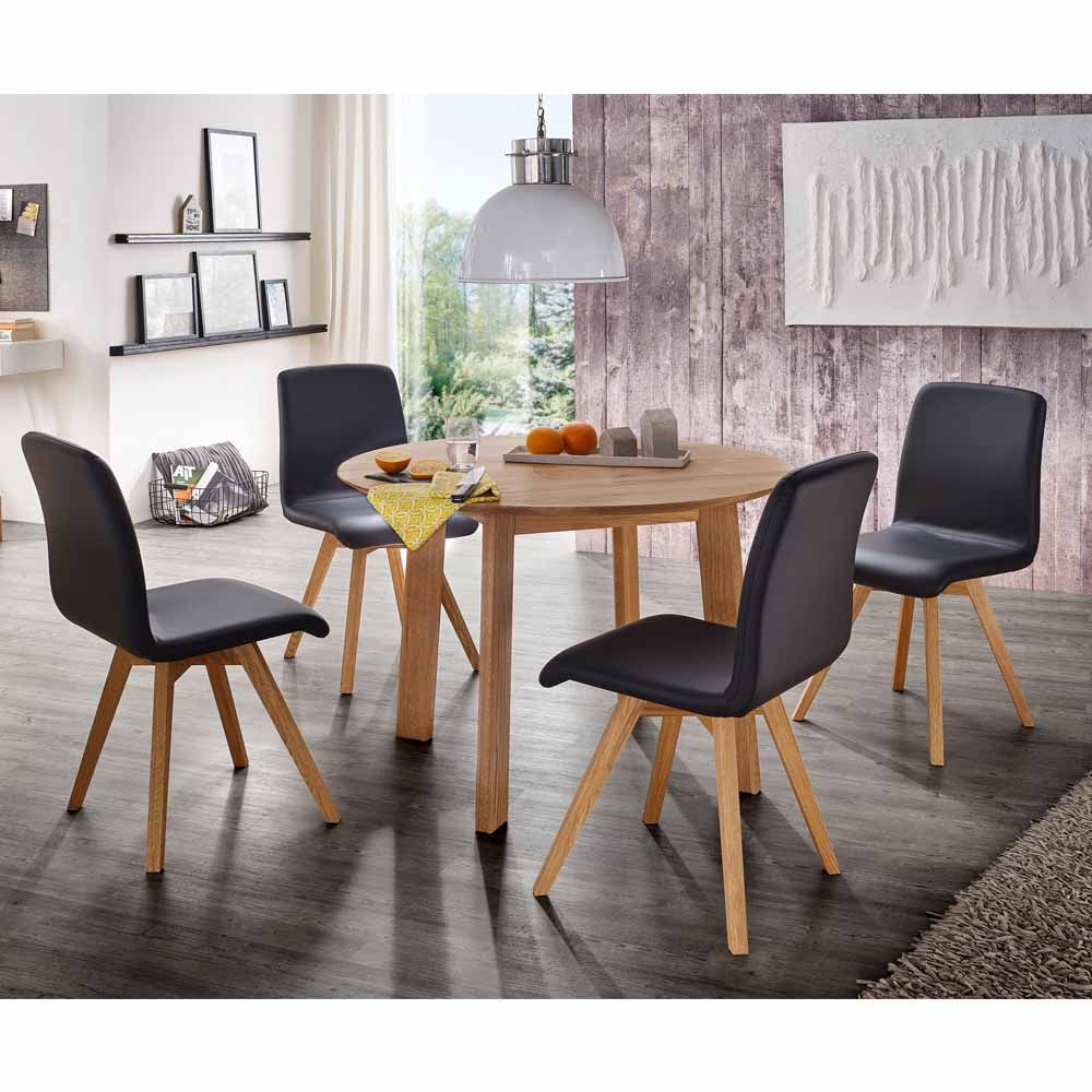 Esstisch mit Stühlen mit rundem Tisch Stühle in Schwarz Kunstleder (fünfteilig)