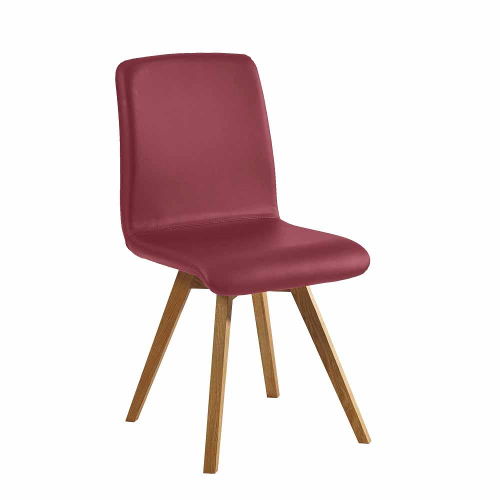 Stuhl in Dunkelrot Kunstleder Wildeiche Massivholz | Küche und Esszimmer > Stühle und Hocker > Holzstühle | Franco Möbel