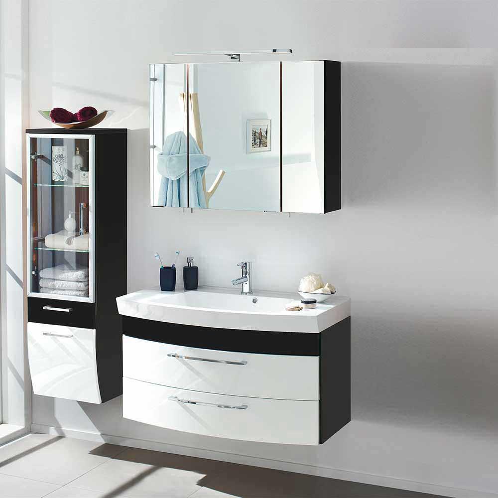Badmöbel Set in Weiß Anthrazit Hochglanz online kaufen (dreiteilig)