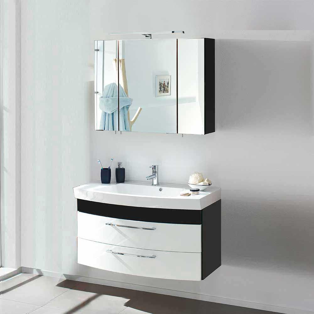Design Badmöbel in Weiß Anthrazit Hochglanz modern (zweiteilig)